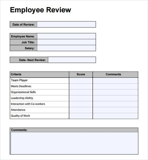 Employee Performance Review Forms Templates yearly eval - performance appraisal form format