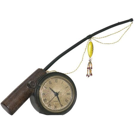 Fishing Rod Table Clock With Beaded Lure Accent Product Table