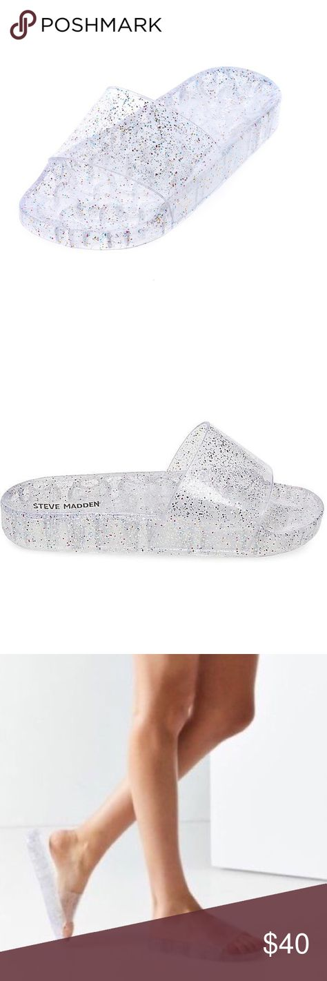 7f44c836a202 Urban Outfitters Clear Glitter Pool Slide Jellys! Size 7! Urban Outfitters Shoes  Sandals