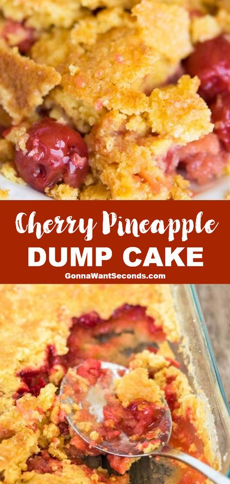 *NEW* Cherry pineapple dump cake has a golden cake topping over pineapple cherry filling. Best of all, it takes 1 pan, 4 ingredients, and 5 minutes to assemble! #DumpCake #Cobbler #Cherry #Pineapple #Cake