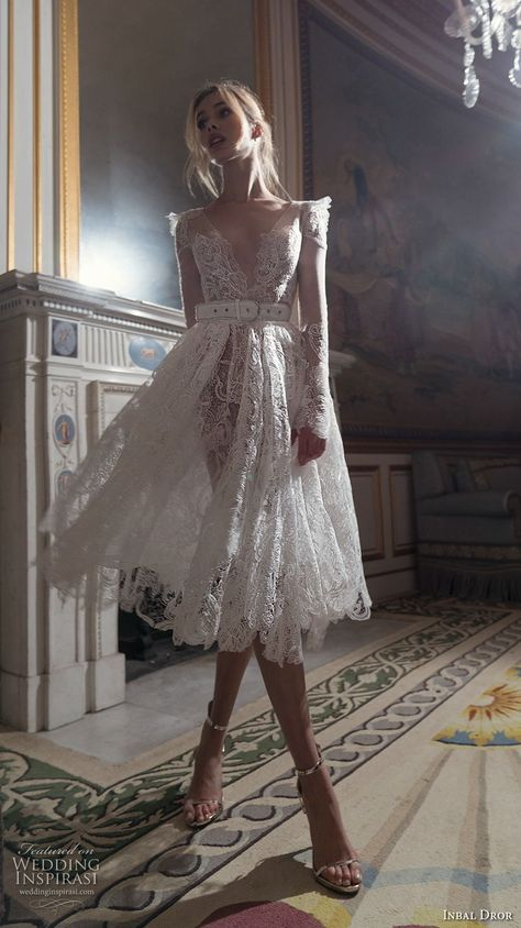 inba dror fall 2018 bridal long sleeves deep v neck full embellishment romantic tea length short wedding dress open v back (5) mv -- Inbal Dror Fall 2018 Wedding Dresses Lookbook | Wedding Inspirasi  #wedding #weddings #bridal #weddingdress #weddingdresses #bride #fashion #label:InbalDror #week:152018 #year:2018 ~