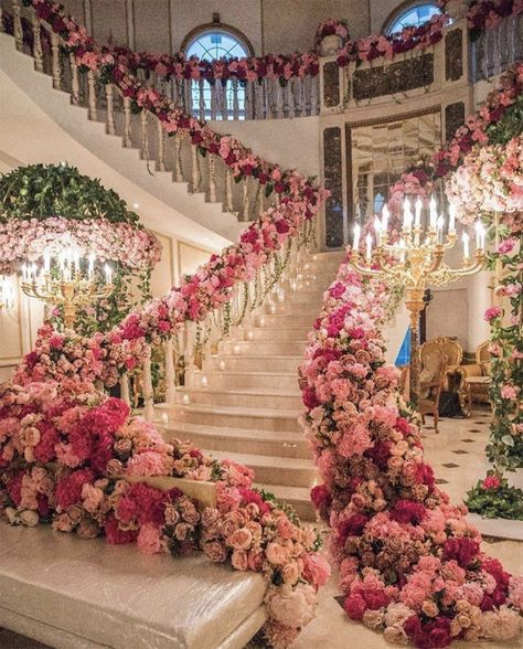 These over-the-top and crazy beautiful wedding centerpieces, bouquets, ceremony decor, and more will help inspire your wedding planning. Wedding Ceremony Decorations, Wedding Centerpieces, Wedding Venues, Wedding Entrance, Decor Wedding, Wedding Staircase, Centerpiece Flowers, Grand Staircase, Grand Entrance