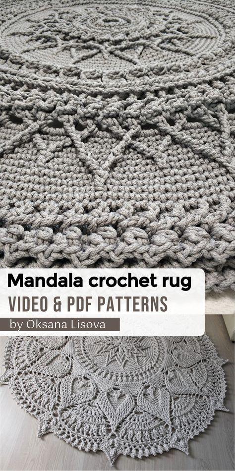Crochet Doily Rug, Crochet Rug Patterns, Crochet Carpet, Knitted Rug, Crochet Home Decor, Crochet Crafts, Mandala Rug, Russian Crochet, Patterned Carpet
