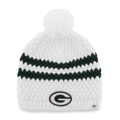Green Bay Packers 47 Brand Womens Kendall Uncuffed Pom Knit Beanie White Green Bay Packers Clothing Packers Clothing Green Bay Packers Hat