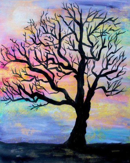Super Silhouette Art Painting Canvases Products Ideas Tree Of Life Painting Silhouette Painting Silhouette Art