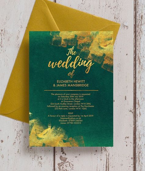Personalised Emerald Green and Gold Wedding Invitation & RSVP with envelopes