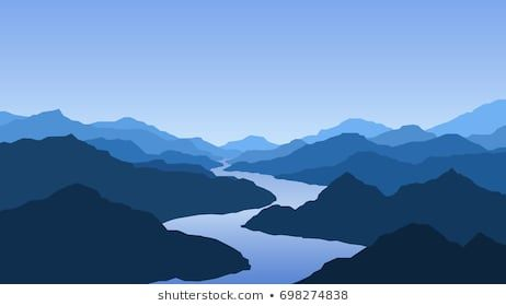 Vector Wallpaper With A Landscape Mountains And River Landscape Illustration Mountain Illustration Mountain Mural