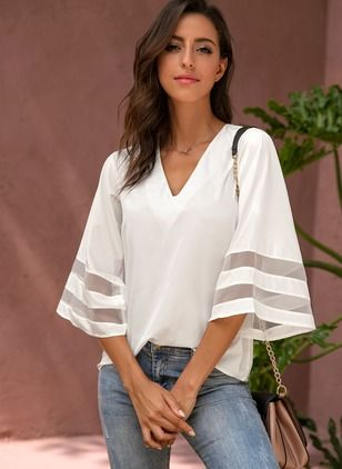 Solid Casual Polyester V-Neckline 3/4 Sleeves Blouses