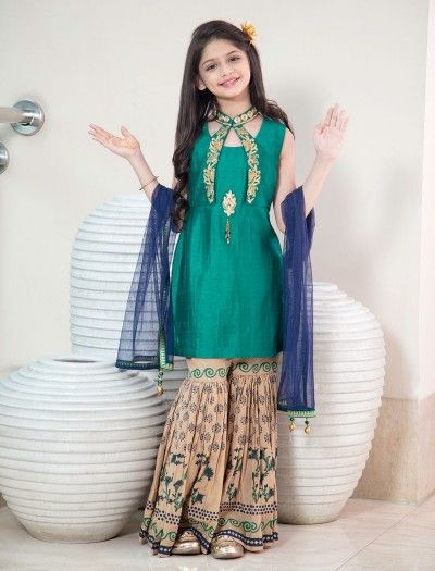 Silk Fabric Green Sharara Suit Latest Designer Sharara