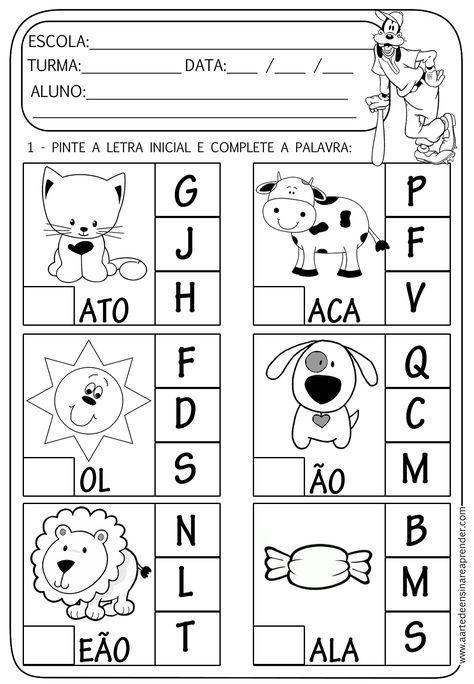 Atividades De Alfabetizacao Para Educacao Infantil Atividades De