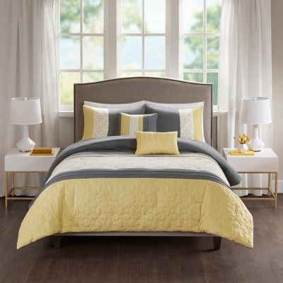 5pc King Cal King Merissi Embroidered Comforter Set Yellow Gray