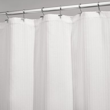 Long Herringbone Weave Shower Curtain 72 X 84 White Fabric