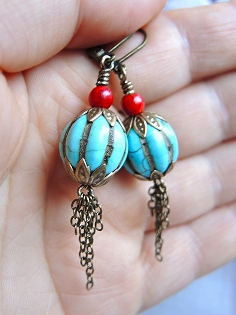 juwelen/jewelry - MAAK HET ZELF/MAKE IT YOURSELF  : project : bellen met franje - earrings with fringe