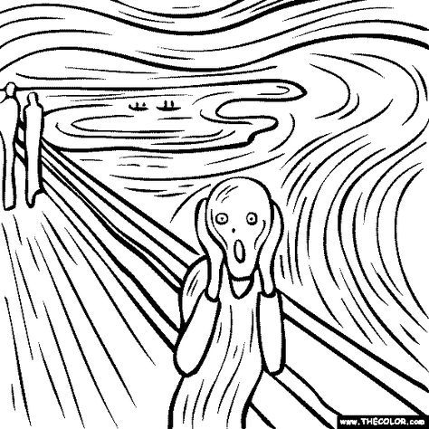 Fantastic collection of coloring pages based on famous works of art. This one h… Fantastic collection of coloring pages based on famous works of art. This one happens to be Edvard Munch, but there are tons more. Coloring Books, Coloring Pages, Free Coloring, Online Coloring, Coloring Sheets, Art Sketches, Art Drawings, Famous Artists Paintings, Oil Paintings