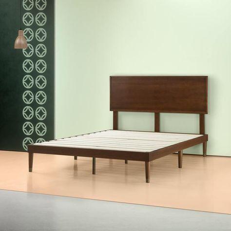 Raymond Wood Platform Bed Frame With Adjustable Headboard Height