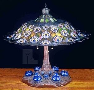 Meyda Tiffany Tiffany Peacock Feathers with Ink Well Table Lamp - MD-49869 $1600.99