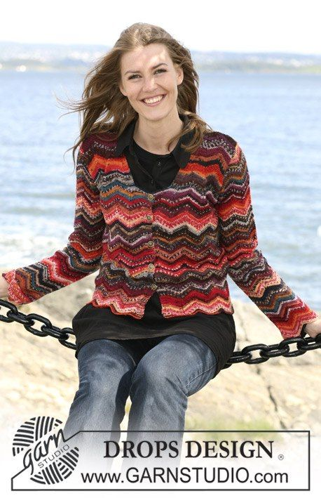 """DROPS 104-1 by DROPS Design  """"You can't get enough of warm colors in the fall. This is wavy, nice and colorful!""""  Colorful DROPS cardigan in """"Fabel"""" with zig-zag pattern, sizes S to XXXL"""