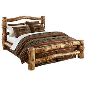 Natural Wood Bedroom Furniture Collection Log Bed Twin