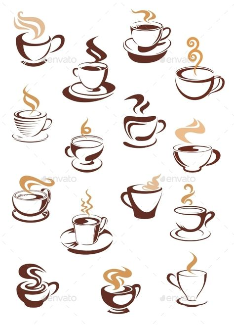 Hot steaming coffee cups beige and brown colored isolated on white background for beverage and cafe menu design FLAT  SPORTS