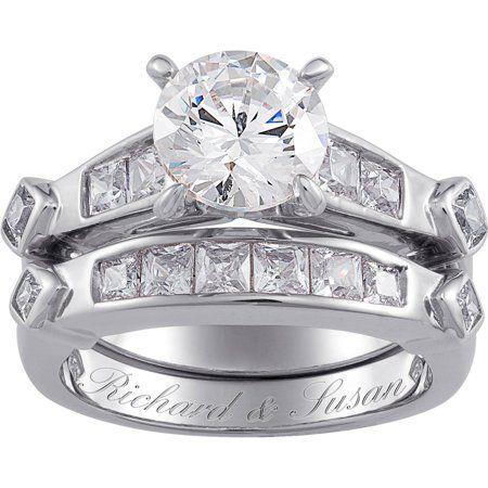 Sterling Silver 6 6 Carat T G W Cubic Zirconia 2 Piece Wedding Ring Set Walmart Com Cz Wedding Ring Sets Sterling Silver Wedding Rings Sets Cz Wedding Rings