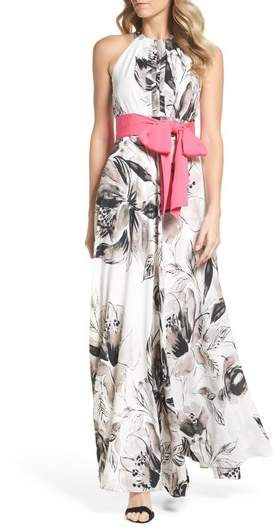 Eliza J Chiffon Maxi Dress in color black and white with