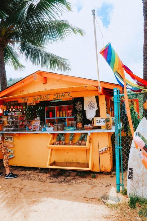 Dec 2019 - The must stop cute yellow shack of The Sunrise Shack on the drive to Oahu North Shore Hawaii Moving To Hawaii, Hawaii Vacation, Hawaii Travel, Dream Vacations, North Shore Hawaii, Vintage Hawaii, Vintage Surf, Beach Aesthetic, Travel Aesthetic