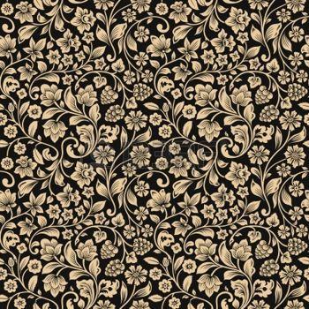 Sagome Stilizzate Vector Seamless Pattern Floreale Vintage Sagome