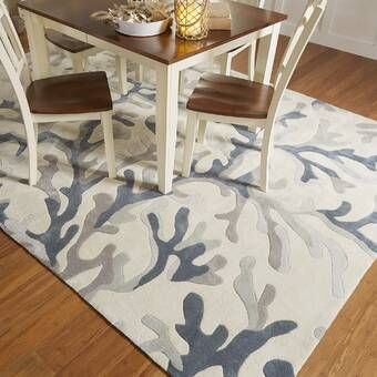 Emerie Abstract Hand Tufted Wool Blue Beige Area Rug Teal Area Rug Area Rugs Coastal Area Rugs