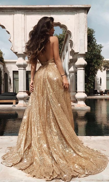 Glitter Gold Long Party Dress With Straps From Sugerdress In 2020 Evening Gowns Prom Dresses Vintage Simple Prom Dress