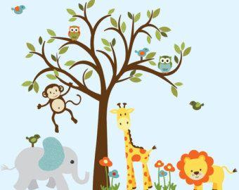 Etiqueta de la pared árbol de hoja perenne por StickItDecalDesigns