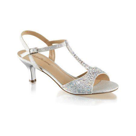 Fabulicious Womens Kitten Heel Wedding Shoes T Strap Sandals Silver Rhinestone 2 1 2 Inch Walmart Com Silver Wedding Shoes Kitten Heel Wedding Shoes Wedding Shoes Heels