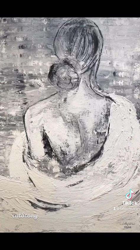 Find my work at fallbutonce.com! #art #artist #painting #acrylic #blackandwhite #artistsoninstagram #woman #figure #wallart #wallhanging #homedecor