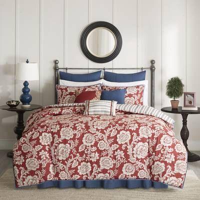 Cheshire Reversible Floral Cotton Blend 6 Piece Coverlet Set Comforter Sets Duvet Cover Sets Coverlet Set