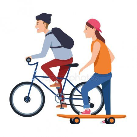 Young People With Bike And Skateboard Stock Vector Sponsored