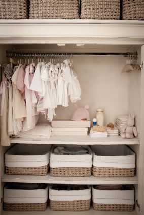 So smart to do in baby's closet.... add shelves on bottom and use baskets