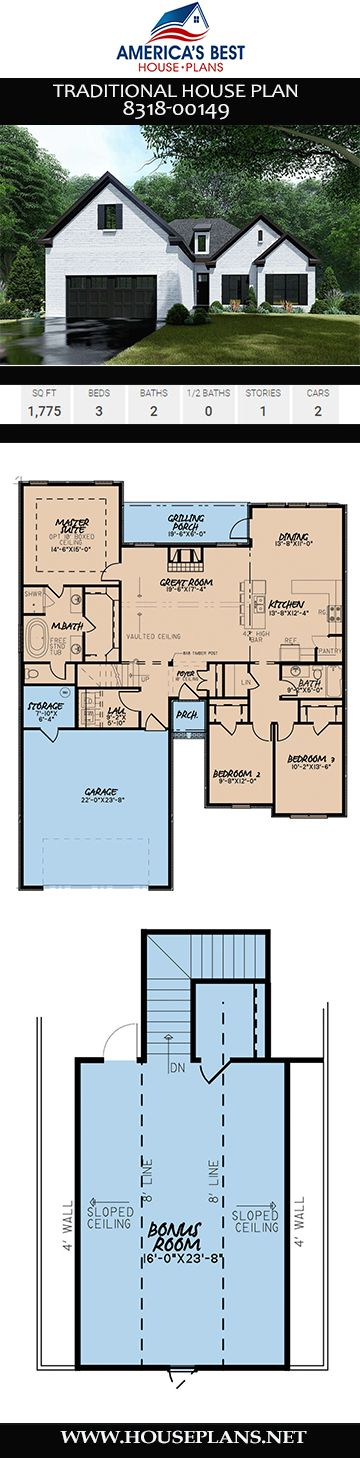 House Plan 8318 00149 Traditional Plan 1 775 Square Feet 3 Bedrooms 2 Bathrooms Traditional House Plan House Plans Traditional House