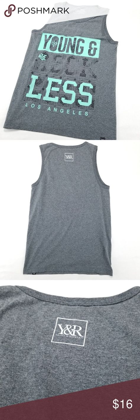 101258956ab7b Young   Reckless Grey Teal Graphic Tank Top Young Reckless Mens Grey Teal  Graphic Sleeveless Tank