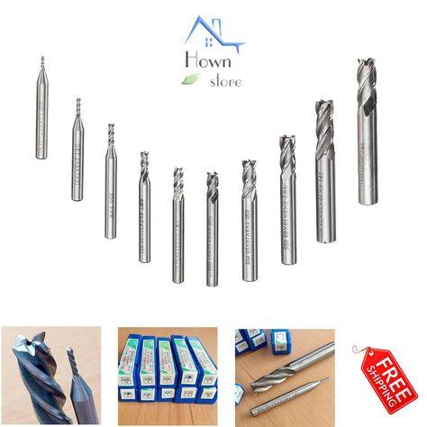 10pcs 1.5-10mm HSS Straight Shank 4 Flute End Mill Cutter CNC Drill Bit Tool Set