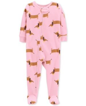 6a820837c6 Carter s Baby Girls Dog-Print Footed Fleece Pajamas - Pink Hot Dog 18 months