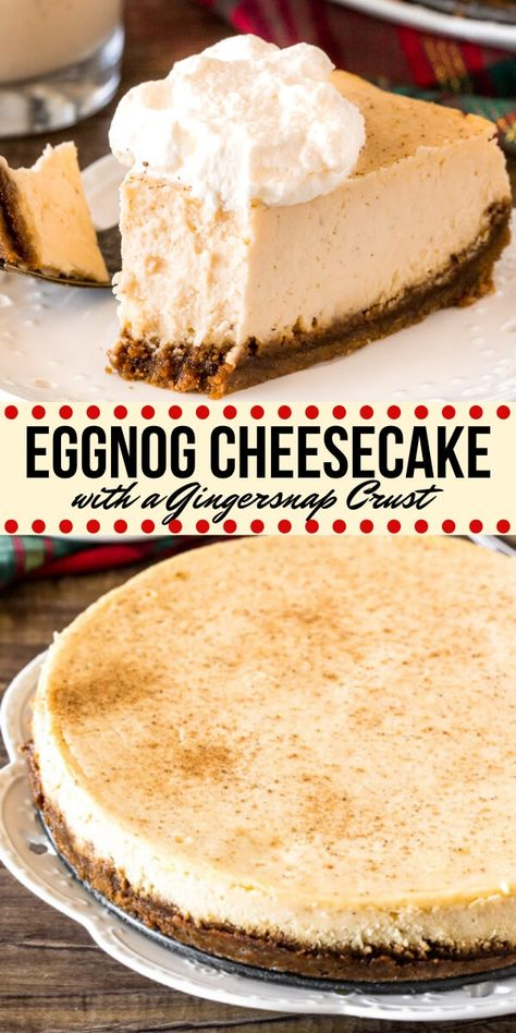 This creamy Eggnog Cheesecake has a luxurious texture gingerbread crust and deliciously spiced eggnog flavor. It's a stunning dessert for your Christmas dinner parties or family celebrations. from Just So Tasty Eggnog Cheesecake, Cheesecake Recipes, Dessert Recipes, Cupcake Recipes, Eggnog Recipe, Spiced Eggnog, Holiday Baking, Christmas Desserts, Christmas Dinners