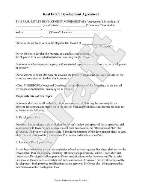 Real Estate Development Agreement Template - Contract with Sample - development agreement contract
