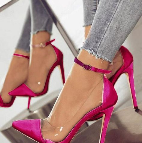 23d227bd1852 Zapatos Mujer Thin High Heels Jelly Shoes For Women Ankle Buckle Straps  Pumps PVC Transparent Ladies Wedding Dress Shoes