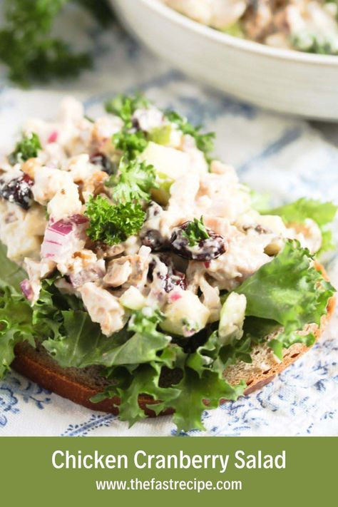 Super-fast chicken salad with cranberries. This delicious and simple meal is all about chopping and mixing a few ingredients. #thefastrecipe #chickensaladwithcranberries #cranberrychickensalad #cranberrywalnutchickensalad #healthysalad #chickensalad