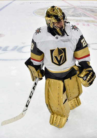 Las Vegas Nv December 23 Marc Andre Fleury 29 Of The Vegas Golden Knights Warms Up Prior To A Ga Golden Knights Hockey Golden Knights Vegas Golden Knights