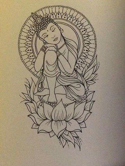 tattoo buddah drawing buddah tattoo peace tattoo buddha tattoo this Kunst Tattoos, Bild Tattoos, Body Art Tattoos, Tattoo Arm, Tatoos, Ganesha Tattoo Thigh, Female Arm Sleeve Tattoos, Thigh Piece Tattoos, Zen Tattoo