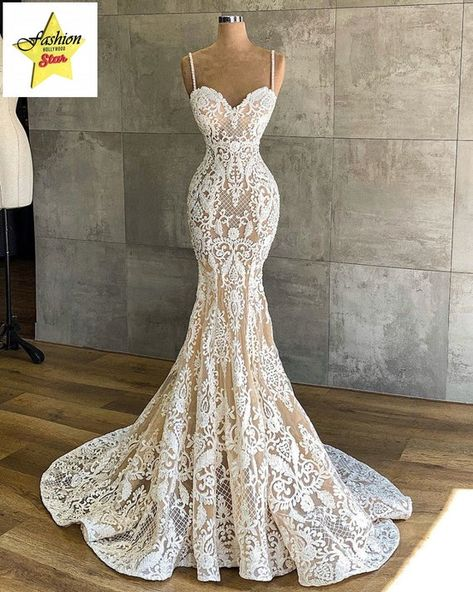 Very sexy lace wedding dress from XS to XXXXL Handmade Country Wedding Dresses, Modest Wedding Dresses, Boho Wedding Dress, Bridal Dresses, Mermaid Wedding, Lace Mermaid, Couture Wedding Gowns, Cinderella Wedding, Luxury Wedding Dress