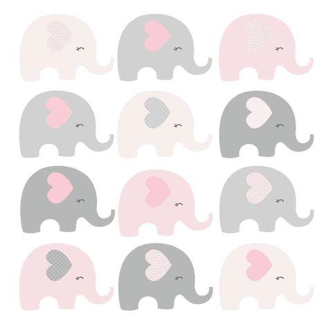 Clipart Elefante Rosa e Cinza | Kit Elefantinha Rosa no Elo7 | Charme Papeteria (D4DCD7)