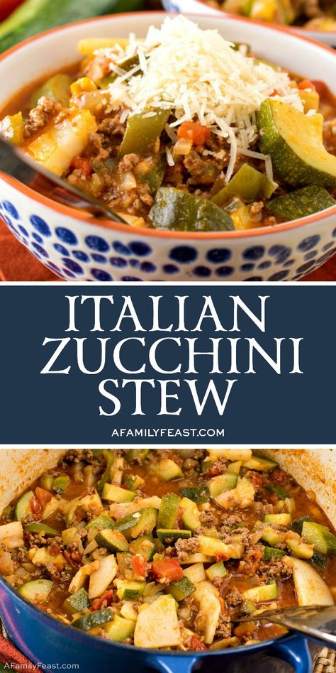 This Italian Zucchini Stew is loaded with fresh garden-grown zucchini, tomatoes, ground beef, potatoes and green bell pepper. Don't forget the Parmesan cheese on top! recipes with ground beef Crock Pot Recipes, Beef Recipes, Italian Recipes, Cooking Recipes, Healthy Recipes, Mexican Soup Recipes, Recipies, Goulash Recipes, Amish Recipes