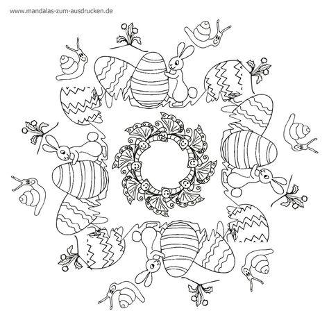 Free Mandala Malvorlage Osterei und Hase zum Download (mit