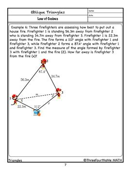 Law Of Cosines Scaffolded Notes Law Of Cosines